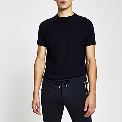 Navy short sleeve textured knitted t-shirt