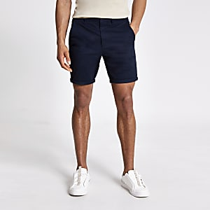 Marineblauwe skinny-fit Sid chino shorts