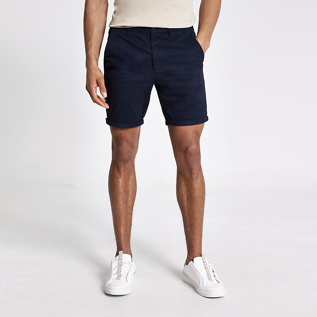 Marineblauwe skinny-fit Sid chino shorts