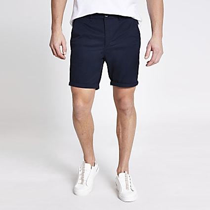 Navy Sid skinny fit shorts