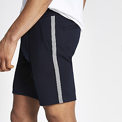 Navy Sid skinny fit tape side shorts
