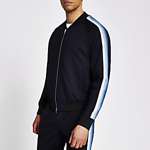 Navy side tape skinny fit bomber