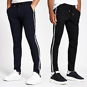 Navy side tape super skinny jogger 2 pack