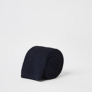 Marineblauwe gebreide zijden stropdas