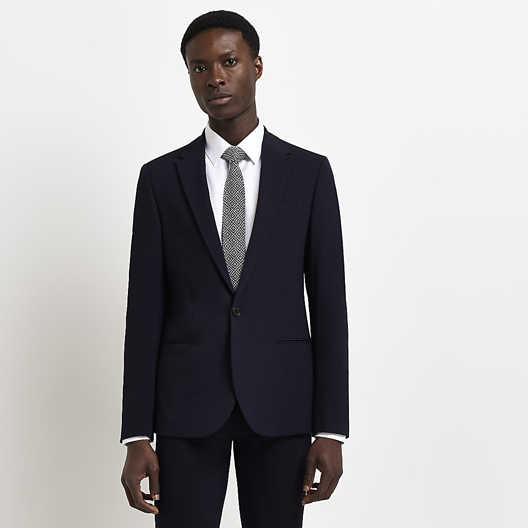 Navy single breasted super skinny suit jacket