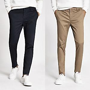 Marineblauwe skinny chino broeken set van2