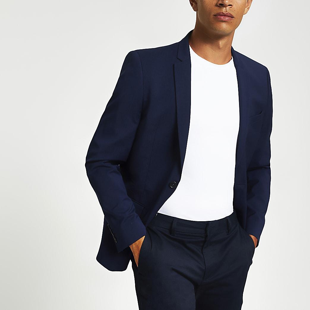 Marineblauwe skinny-fit blazer