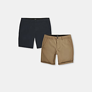 Navy skinny fit chino shorts 2 pack