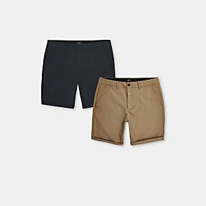 Marineblaue Skinny Fit Chino-Shorts, 2er-Pack