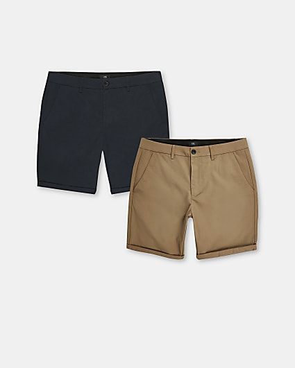 Navy skinny fit chino shorts 2 pack