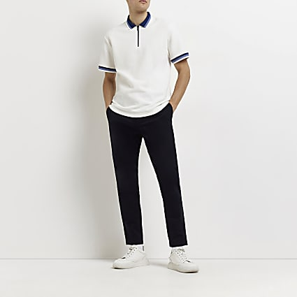 Navy skinny fit chino trousers