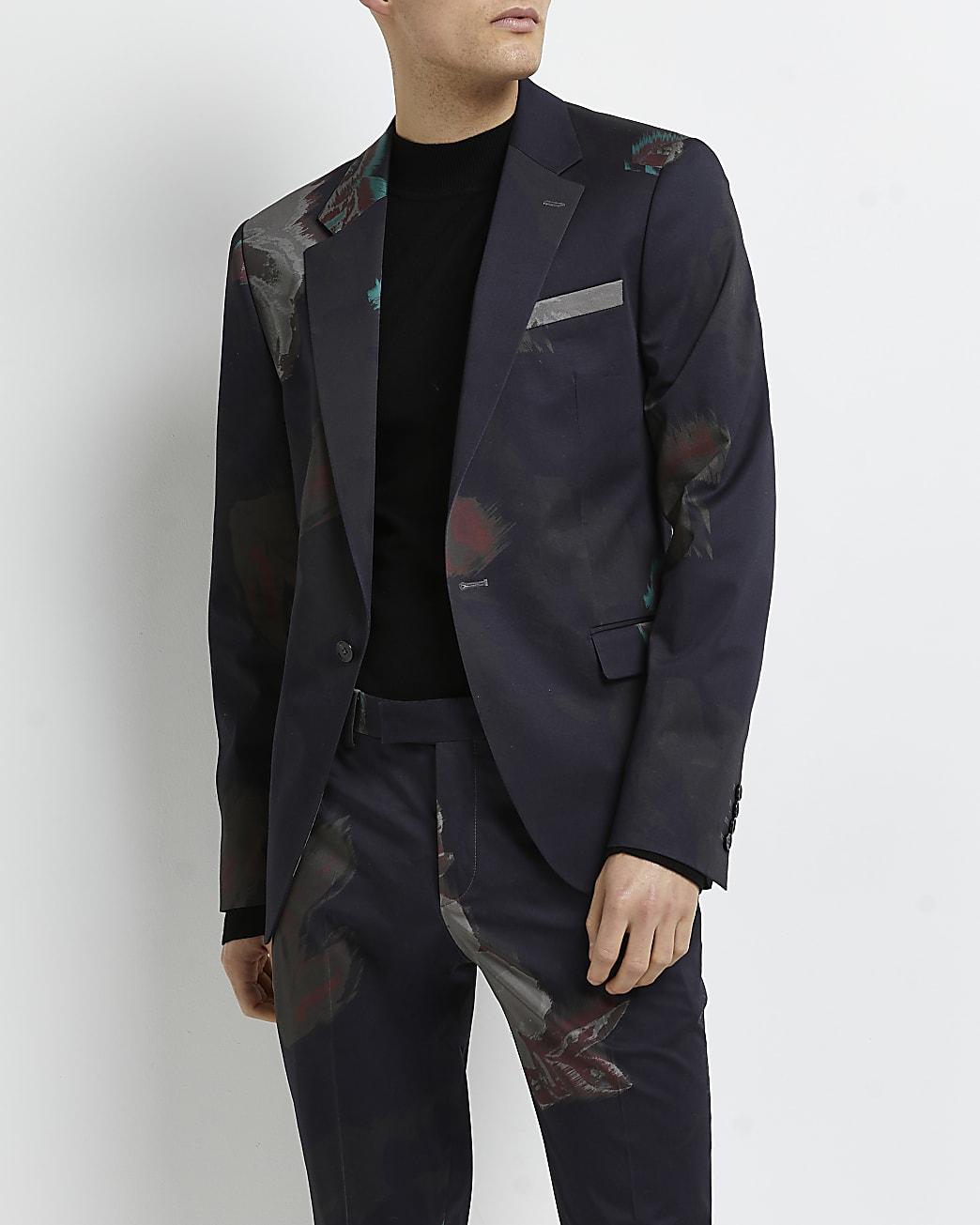 Navy skinny fit floral printed suit jacket