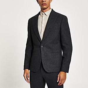 Navy skinny fit suit jacket