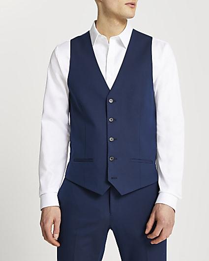 Navy skinny fit suit waistcoat