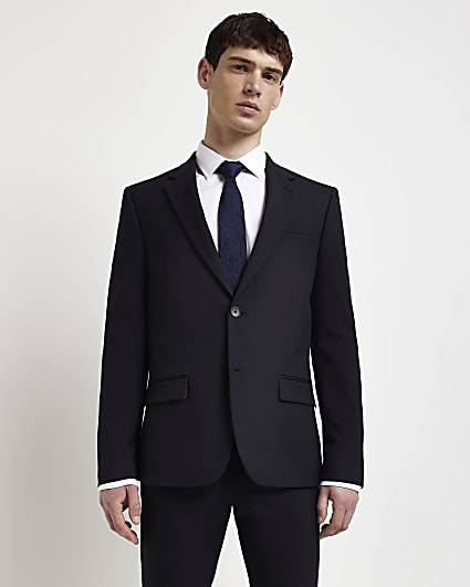 Navy skinny fit twill suit jacket