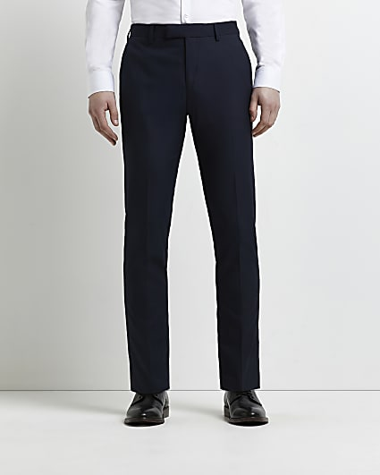 Navy skinny fit twill suit trousers