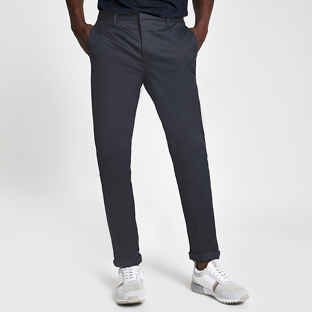 Navy skinny smart trousers