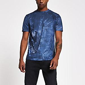 Marineblauw tie-dye slim-fit T-shirt met doodshoofdprint