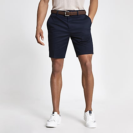 Navy slim fit belted shorts