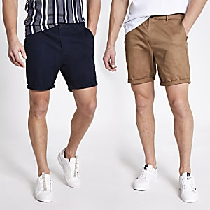 Set van 2 marineblauwe slim-fit chino shorts