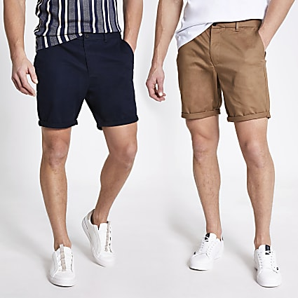 Navy slim fit chino shorts 2 pack