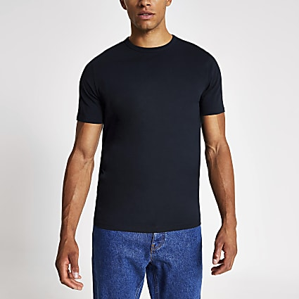 Navy slim fit crew neck T-shirt