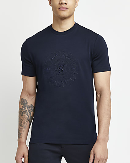 Navy slim fit embroidered t-shirt