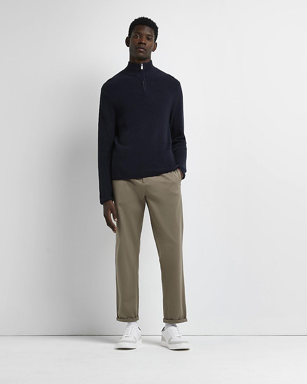 Navy slim fit funnel zip neck jumper