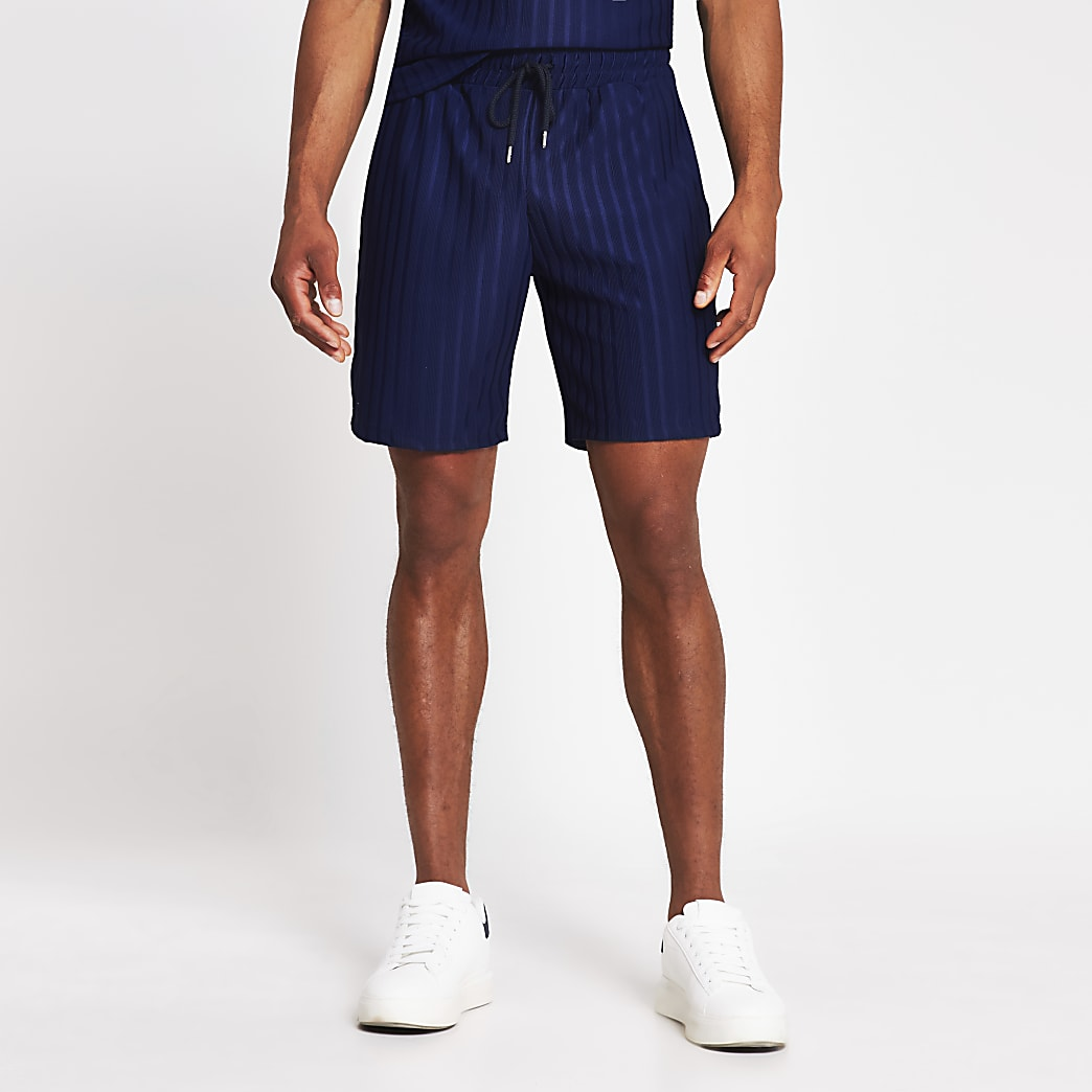 Navy slim fit jersey rib shorts