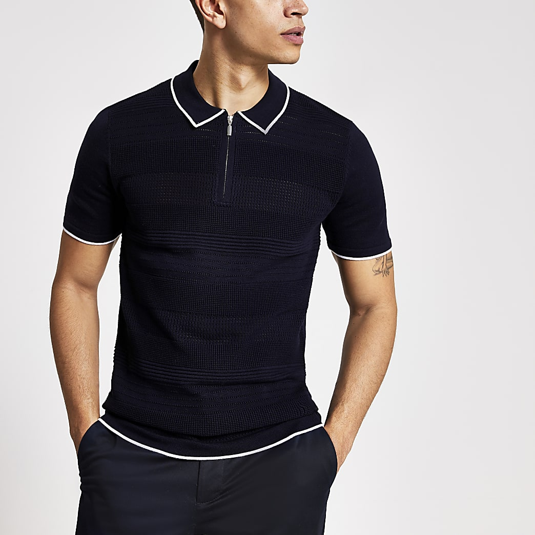 Navy slim fit knitted short sleeve polo shirt