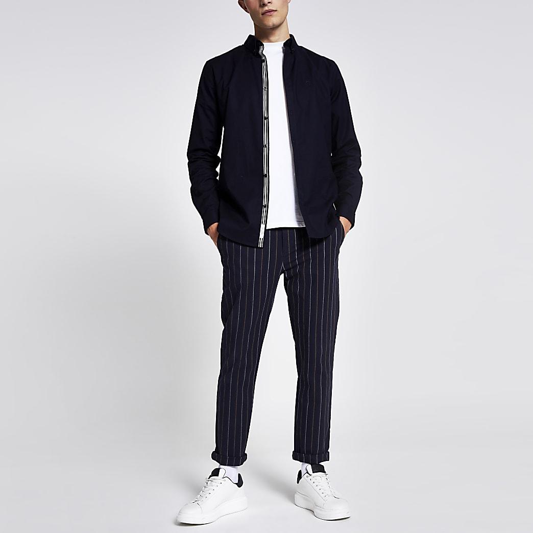 Marineblaues, langärmliges Slim Fit Oxford Hemd