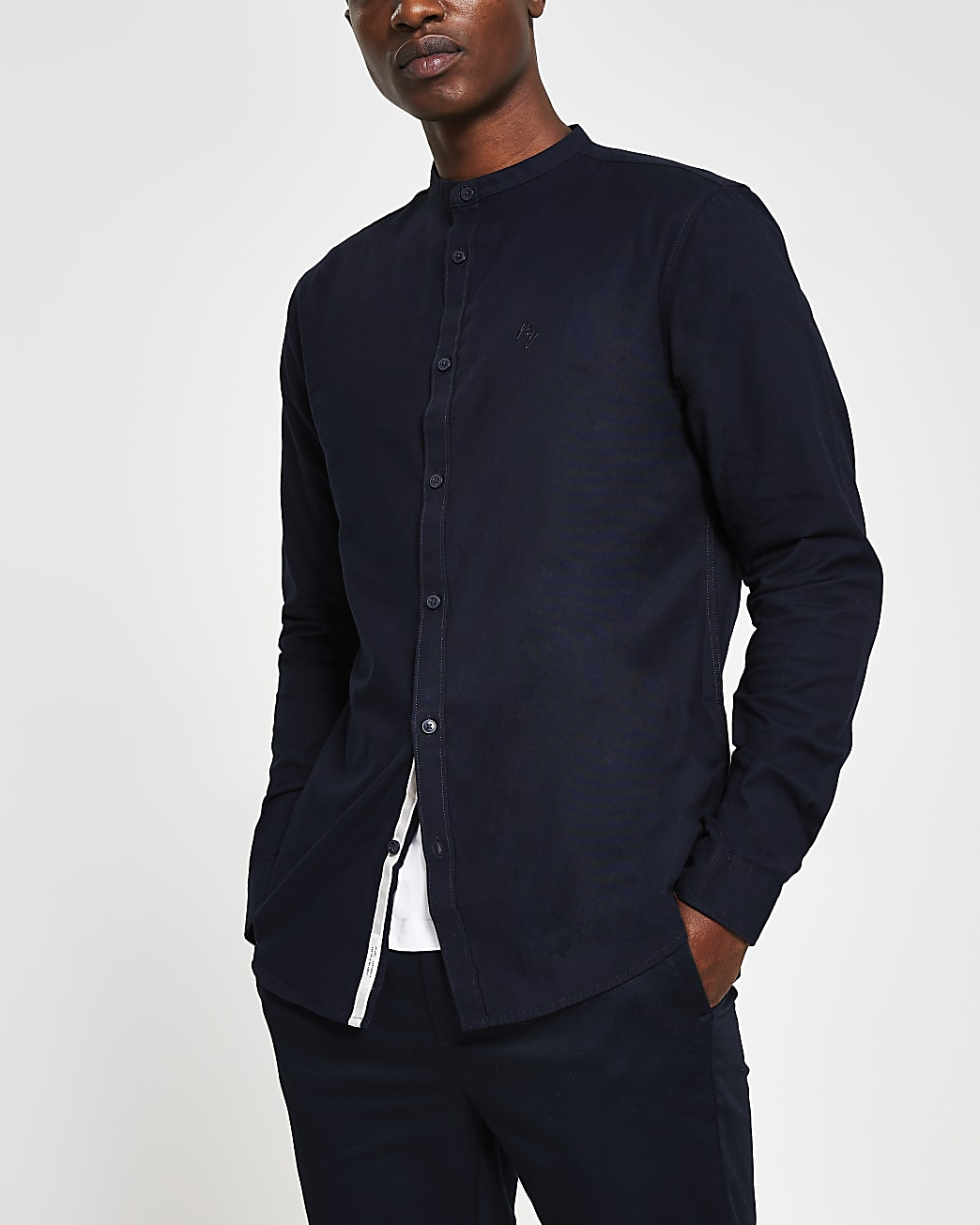 Navy slim fit long sleeve shirt