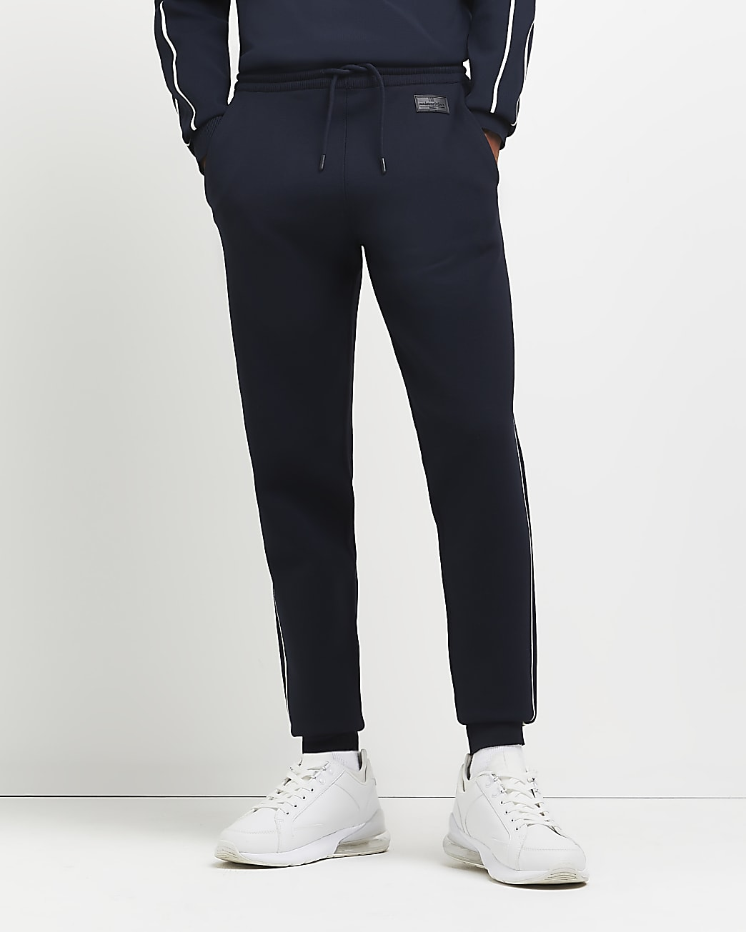 Navy slim fit piping detail joggers