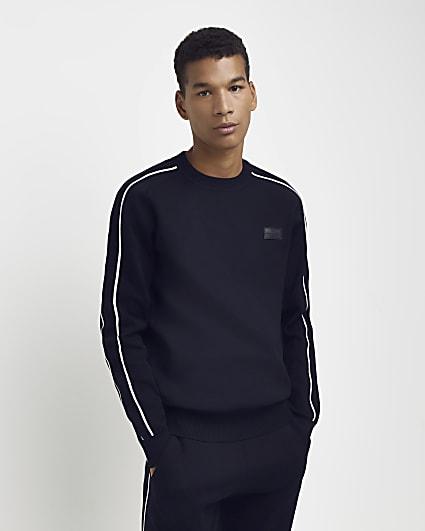 Navy slim fit piping detail sweatshirt