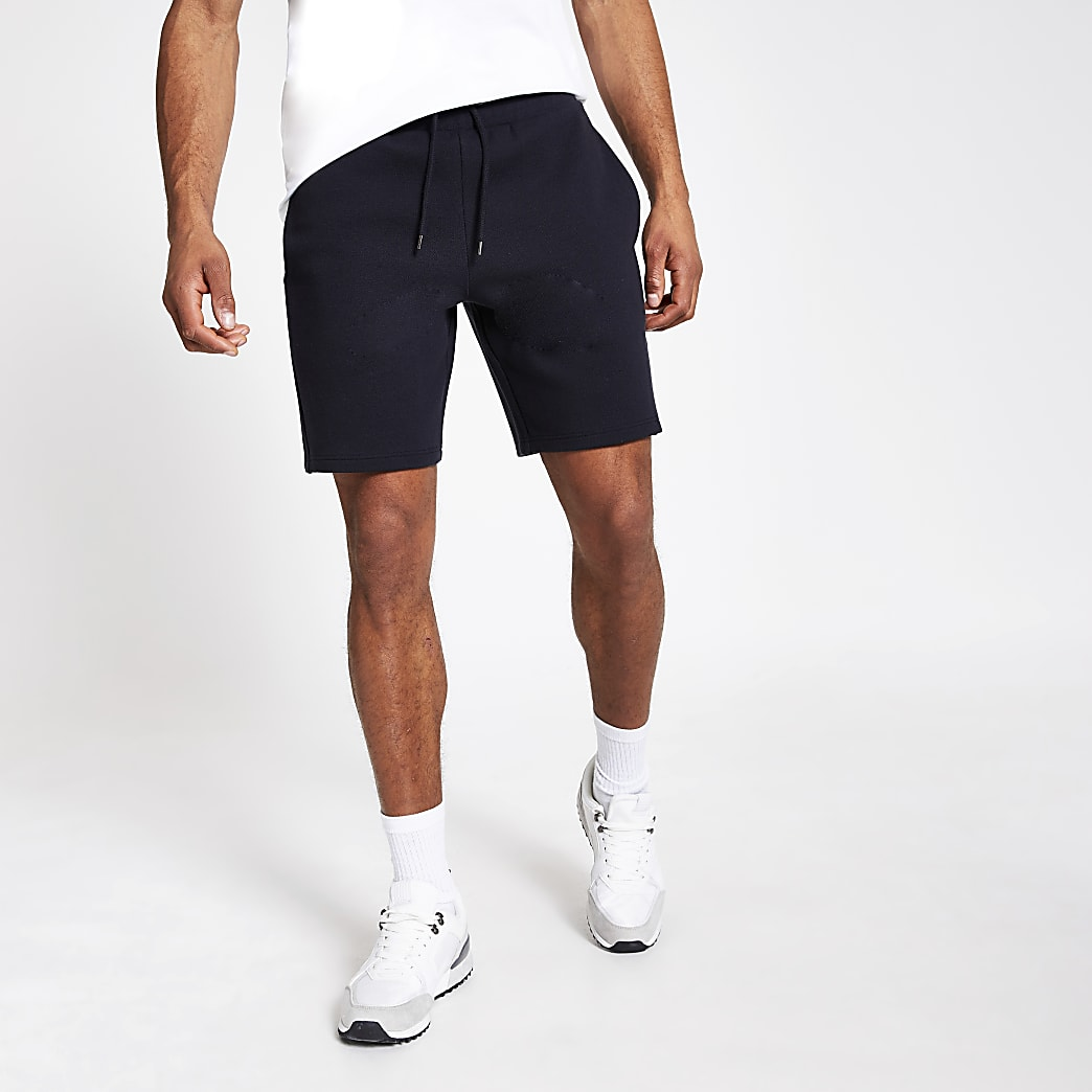 Navy slim fit pique shorts