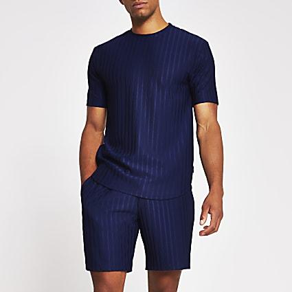 Navy slim fit rib T-shirt