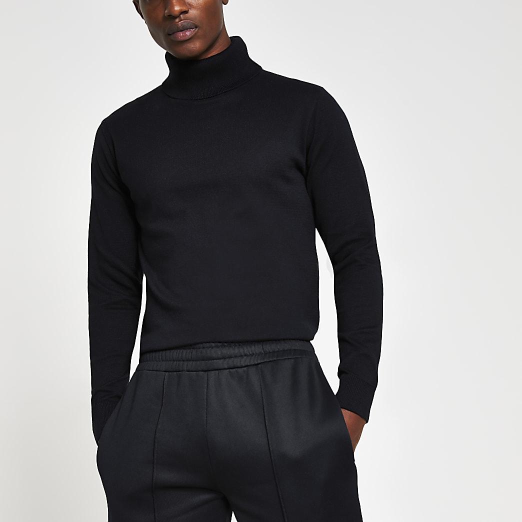 Navy slim fit roll neck jumper