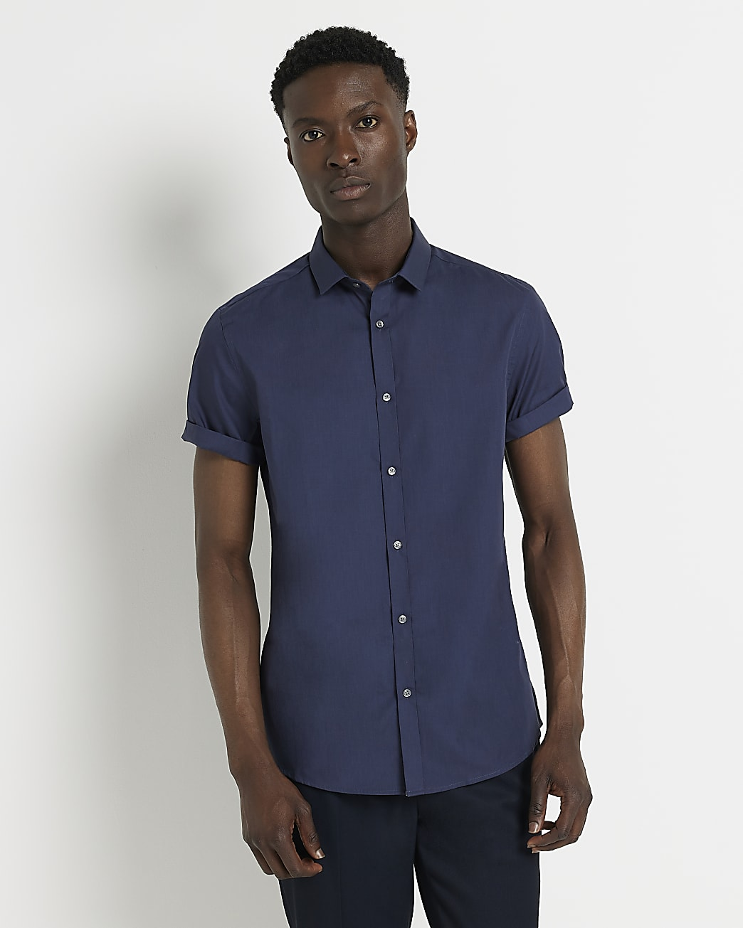 Navy slim fit short sleeve shirt
