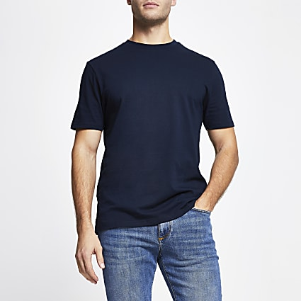 Navy slim fit short sleeve t-shirt