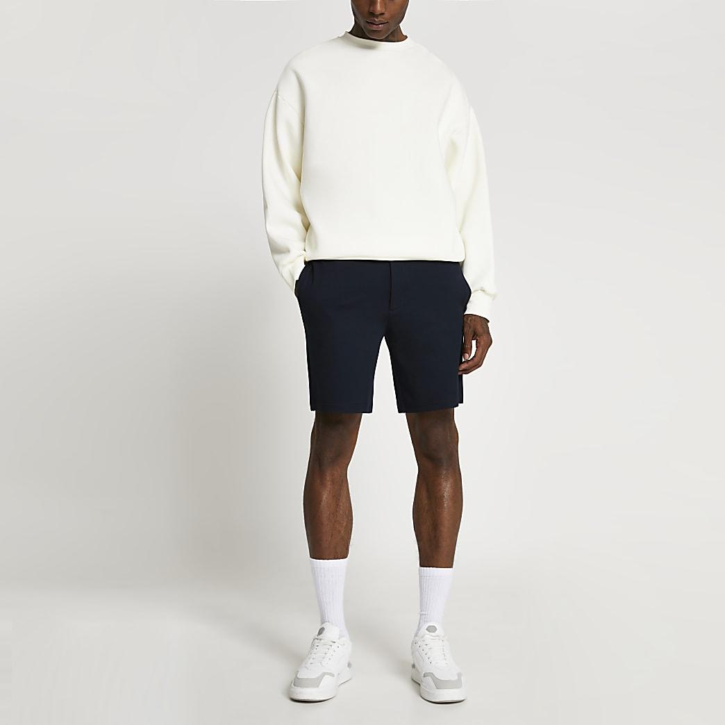 Navy slim fit shorts