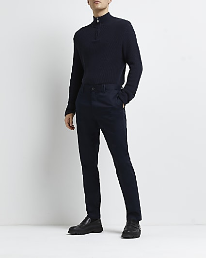 Navy slim fit smart chino trousers