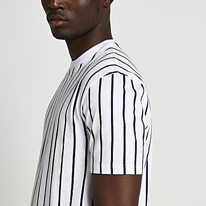 Navy slim fit stripe t-shirt