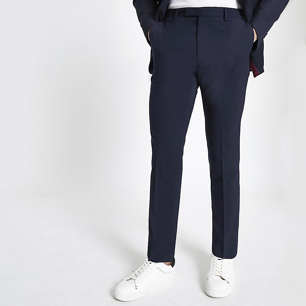Marineblauwe slim-fit pantalon