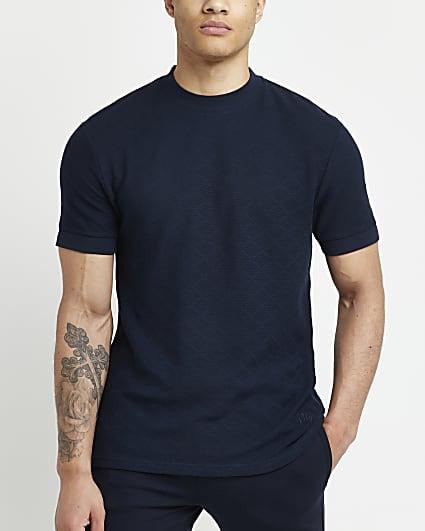 Navy slim fit textured t-shirt