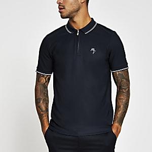 Marineblaues Slim Fit Poloshirt mit Zierstreifen am Kragen