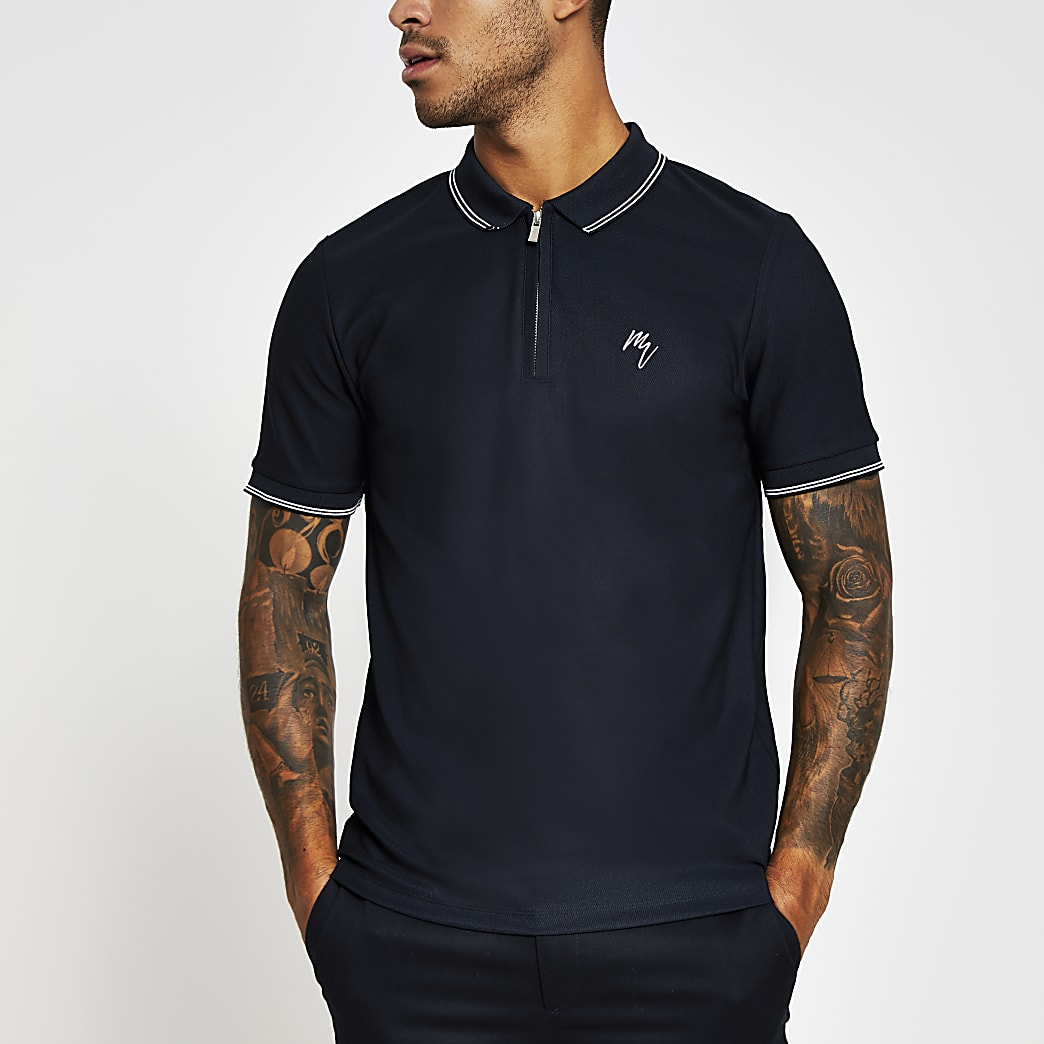 Navy slim fit tipped collar polo shirt