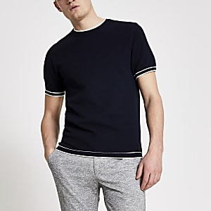 Marineblauw gebreid slim-fit T-shirt met contrasterend randje