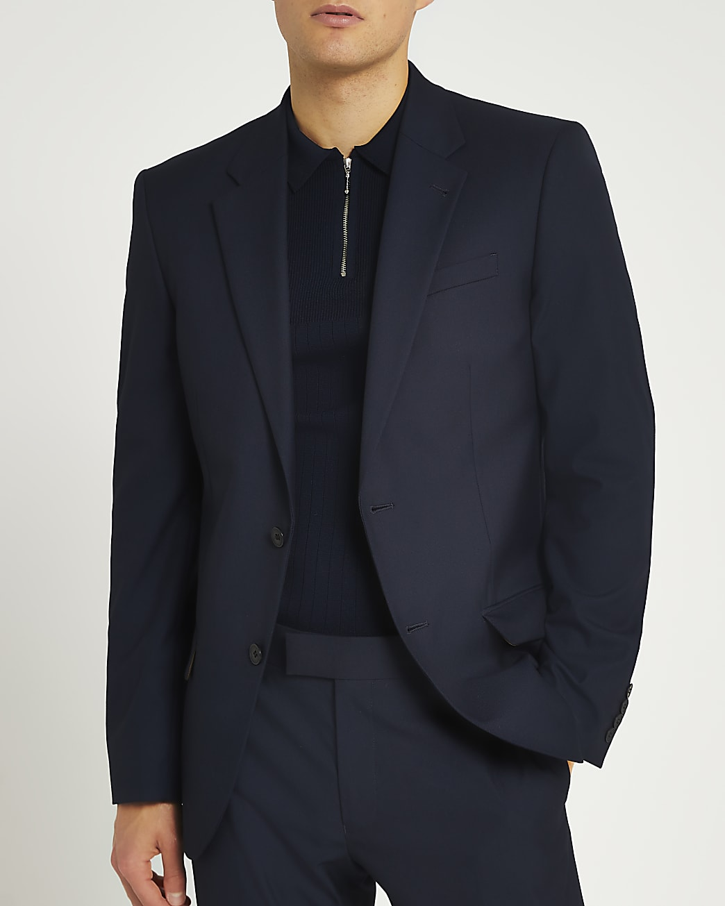 Navy slim fit twill suit jacket