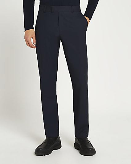 Navy slim fit twill suit trousers