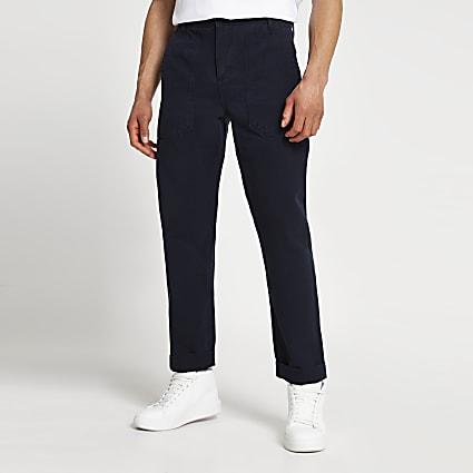 Navy slim fit work trousers